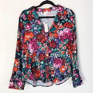 | Anthropologie | NWT Floreat floral button up top
